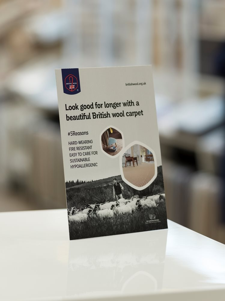 Explain the benefits of British wool carpet with our new range of POS materials