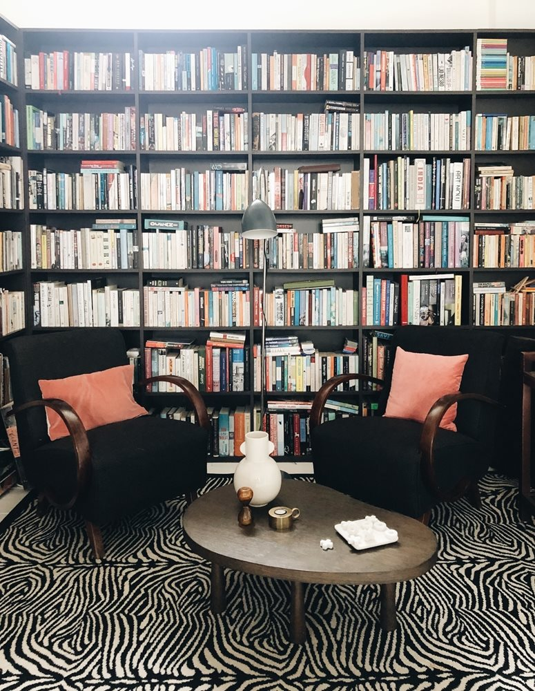 Kate's library, featuring Alternative Flooring's Zebo in Black (Quirky B range)
